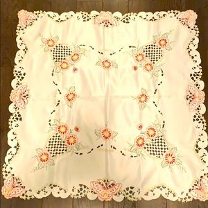 Vintage embroidered floral butterfly tablecloth
